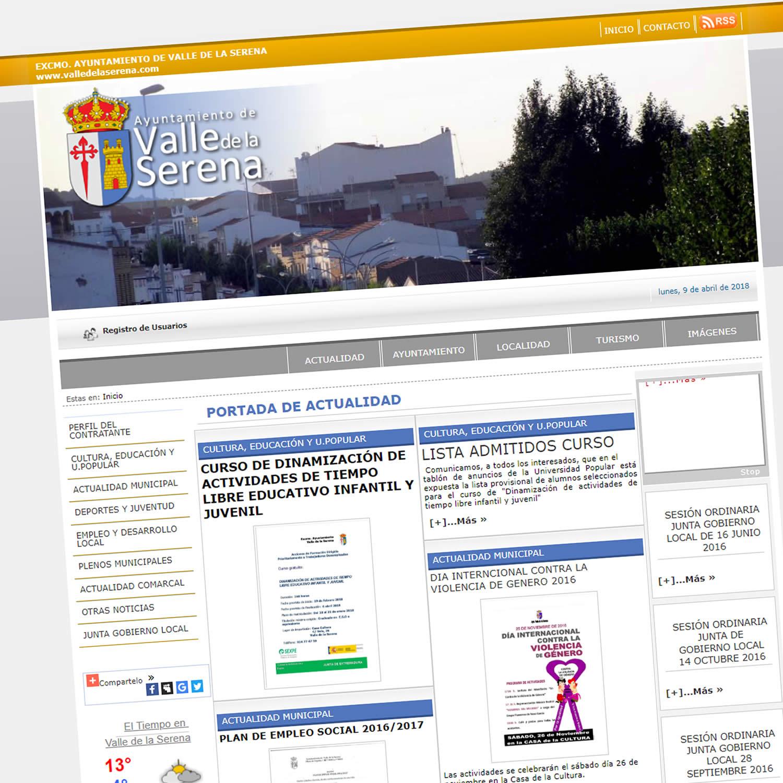 Diseño Web Ayuntamiento del Valle de la Serena