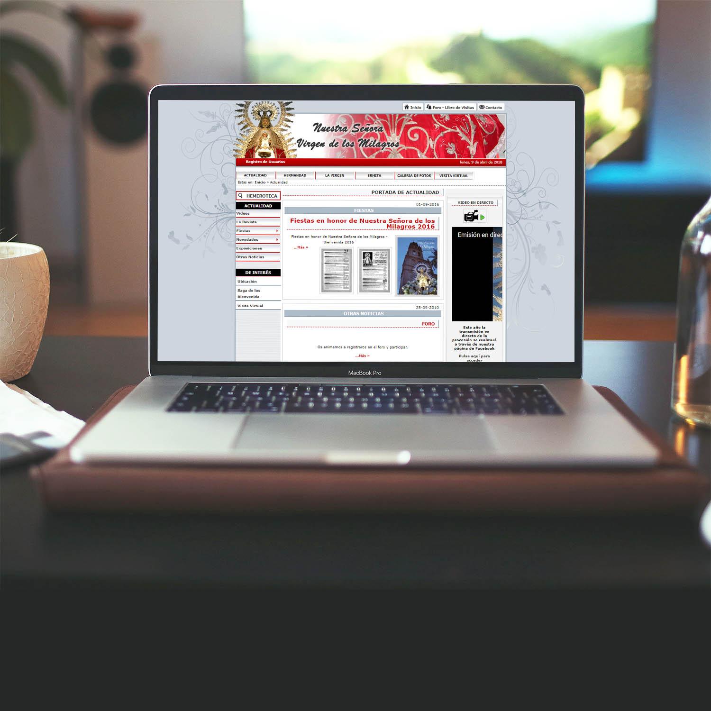 Diseño Web Hermandad Ntra. Sra. de los Milagros